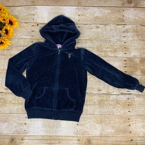 Girls velour zip up by Juicy Couture. Size 6